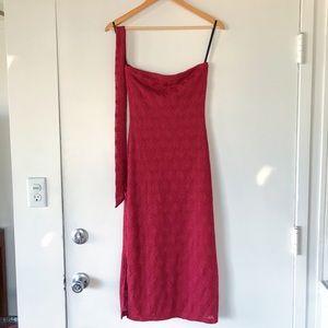 Vintage 90s mesh crochet red tie waist tube dress